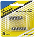 "Bussmann BP/AGC-15-RP AGC 15 Amp Fast-Acting Glass Tube Fuses 1/4"" x 1-1/4"" - 5 per Card"