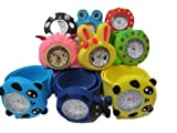 10x kids children's slap on snap silicone band Mickey, Nemo, bees, frog, panda, bunny wrist watches for party gift bags by Fat-catz