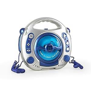 Sing-A-Long lettore CD con 2 microfoni karaoke per bambini (portatile, grossi pulsanti, altoparlante integrato)