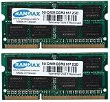 RamMax メモリ 2枚組 DDR2 667 PC5300 2GBX2 RM-SD667-D4GB DUAL 200pin DDR-SO-DIMM DIMM ノート パソコン用 増設メモリ 4GB デュアル