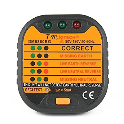 DMiotech® DM6860BG Power Socket Outlet Tester Polarity Checker GFCI Test Wall Plug US 110V 120V