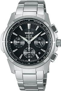 [ワイアード]WIRED 腕時計 ソーラークロノグラフ ブラックダイヤル AGAD028 メンズ