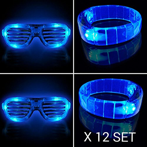 12 PC LED Light Up Glasses and Bracelets Party Pack – Assorted Colors (Blue)