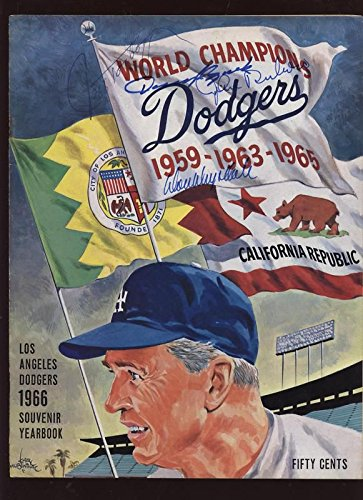1966 Los Angeles Dodgers Yearbook 4 Auto B & E Hologram