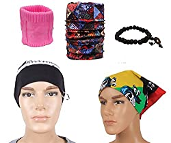 Sushito Black Fashion Winter Skull Cap Combo Headwrap With Bandana & Wrist Band