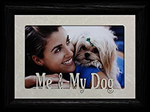 5x7 ME & MY DOG ~ Landscape Cream Marble Mat with BLACK Picture Frame ~ Holds a 4x6 or cropped 5x7 Photo ~ Wonderful Keepsake Gift for a Beloved Dog!