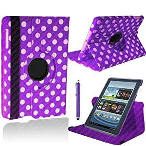 "Purple and White Polka Dot Samsung Galaxy Tab 2 10.1 Smart PU Leather Case Rotating 360 Cover Travel Stand | Includes Free Screen Protector & New Stylus Pen | Professional Cases and Covers with Accessories for Galaxy Tab 2 10.1"" by iChoose®"