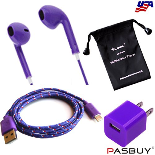 Pasbuy® 84I5/3Ft/Purple 3 In 1 Wall Charger+8 Pin Braided Usb Data Sync Charging Cable+Headphone With Remote Mico For Iphone 5 5S 5C Ipad Mini+Free Mp3 Of Sling Bag