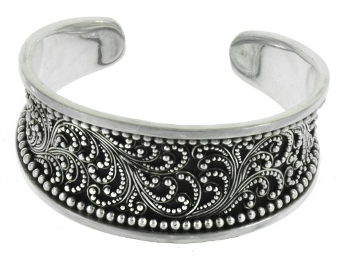 Silver Ornate Balinese Cuff Bracelet Narrow Jewelry of Bali