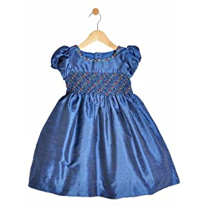 girls smocked dress, blue,1-2 y