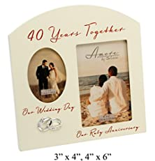 "buy Contemporary ""40 Years Together"" Then And Now Ruby Anniversary Frame By Haysom Interiors"