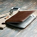 GMYLE (R) Brown Premium Quality PU Leather With Crazy Horse Pattern Dual Zipper Sleeve Bag Skin Case Cover For Apple Macbook Pro 13-inches