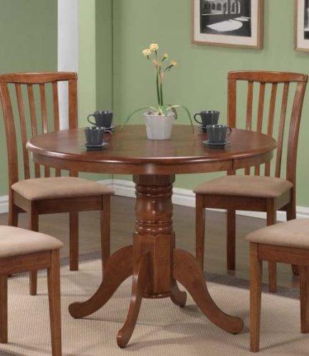 Pedestal Round Dining Table Dark Oak Finish (Oak Pedestal compare prices)