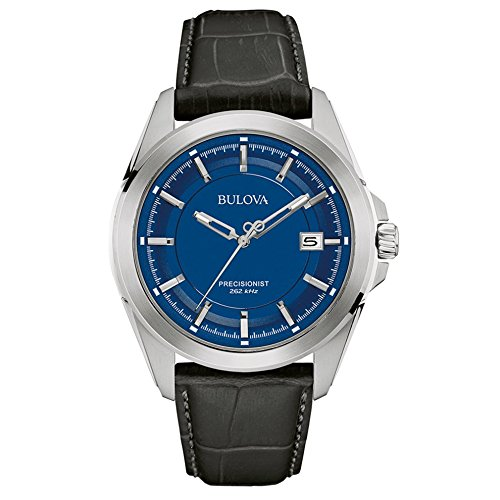 Bulova Precisionist Men's Quartz Watch with Blue Dial Analogue Display and Black Leather Strap 96B257