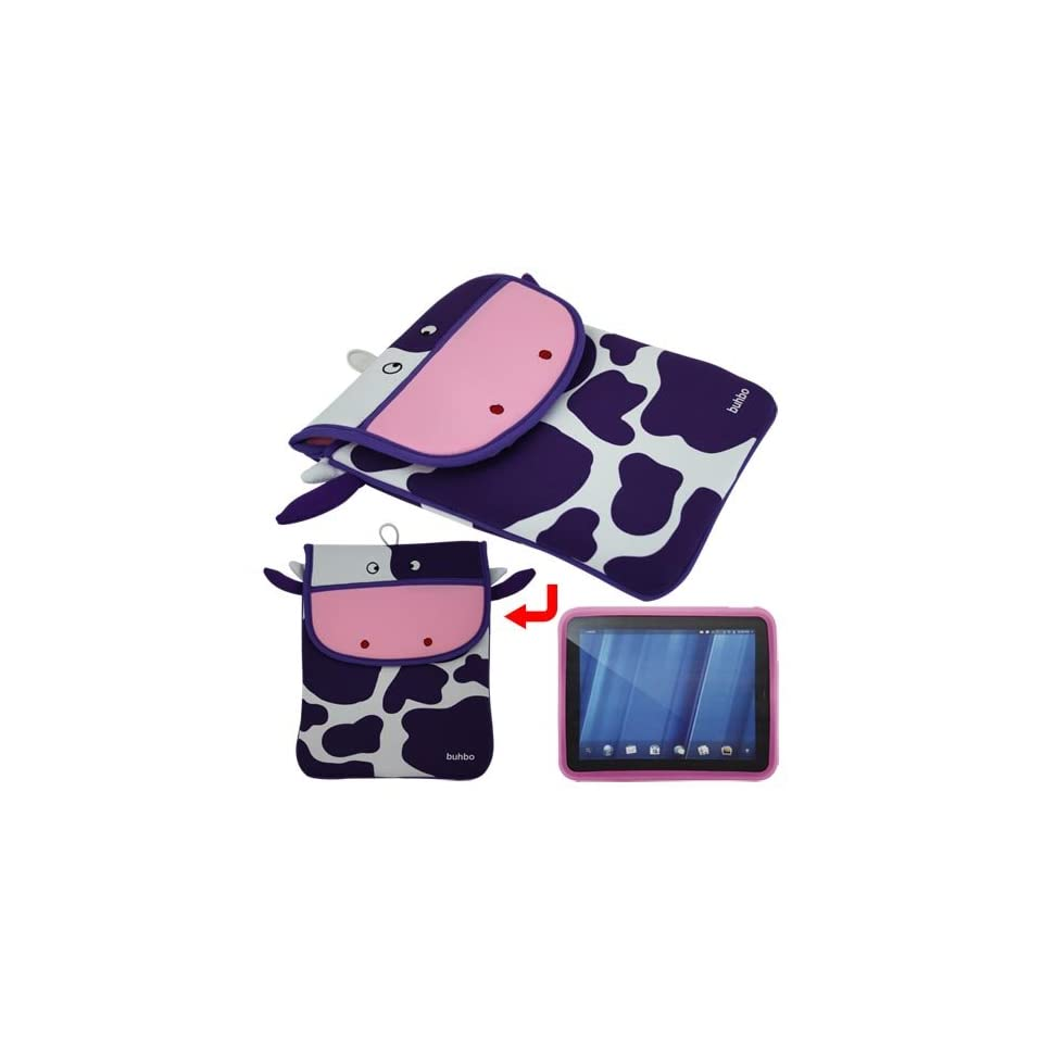 Premium Coco the Cow Memory Foam Case(10.1 inch)+Skque Pink Silicone Skin Case Cover Protector Skin for HP Touch Pad 9.7 Tablet