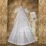 Baby Girl Size 0-12M White Pleated Bow Christening Baptism Dress Gown