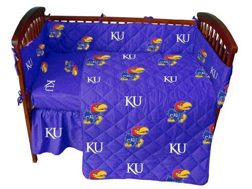 Kansas Baby Crib Fitted Sheet - White - Kansas Jayhawks front-1007276