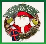 【ELEEJE】welcome! 両手を 大きく 広げた 可愛い サンタの マスコットが 彩る クリスマス リース(サンタB)