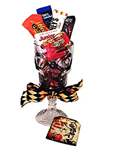 'Eat, Drink and Be Scary' Skeleton Wine Glass Halloween Chocolate Candy Gift