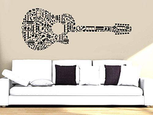 Wall Decal Vinyl Sticker Decals Art Decor Design Guitar Notes Melody Electro Music Musicant Band Rock Star Mans Gift Bedroom Dorm (R765) front-928338