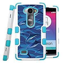 buy Lg Leon Tribute 2 Case, Casecreator[Tm] For Lg Leon / Lg Tribute 2 / Risio (T-Mobile, Metropcs,Sprint, Cricket, Virgin Mobile, Boost Mobile) -- Tuff Hybrid Case Teal Blue White-Blue Dolphins