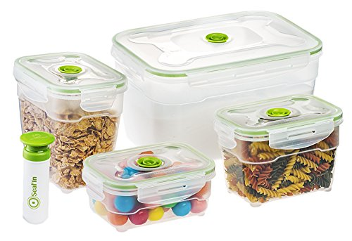 Seal'In Nestable Food Storage Vacuum Containers - Set of 4 - Vacuum Sealed, Microwavable and Dishwasher Safe (Vacuum Sealed Weed Container compare prices)