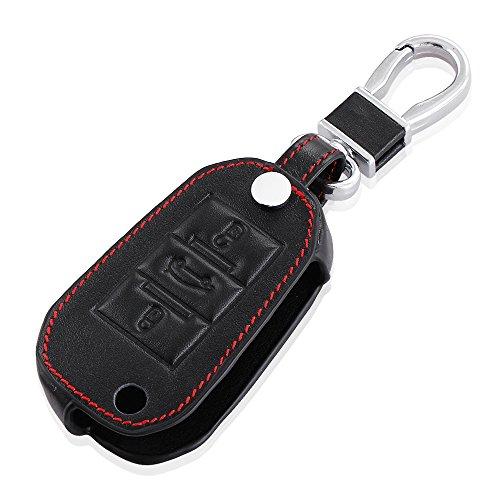 Auto-Leder-Fold-Fernbedienung-Key-Cover-Case-Holder-fr-Peugeot-2008-3008-301-schwarz