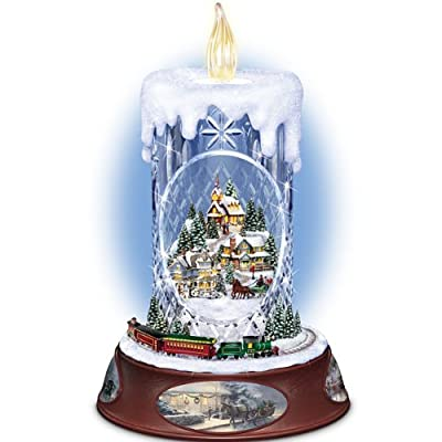 Thomas Kinkade Musical Tabletop Centerpiece Crystal Candle: Making Spirits Bright by The Bradford Exchange