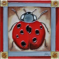 Continental Art Center BD-0342 8 by 8-Inch A Ladybug with Red Frame Ceramic Art Tile