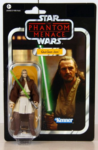 Star Wars - 26966 - Vintage Collection - The Phantom Menace / Die Dunkle Bedrohung - Qui-Gon Jinn - VC 75 - ca. 10 cm - mit Lichtschwert