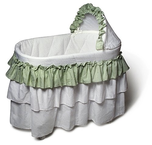 Burlington Baby Full Skirt Bassinet Liner, Sage/White