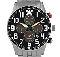 Astroavia V2S Men's Chronograph Quartz Watch with Black Dial and Stainless Steel Bracelet