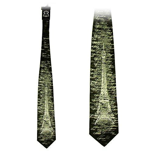 Robin Ruth - Eiffel Tower Men'S Silk Tie - Color : Dark Grey