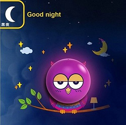 DIY 3d Cute Wallpaper Novelty Cartoon Wall Stickers Lamp for Kids' Bedroom Room Decoration LED Night Light (Owl)