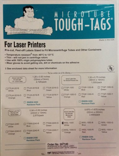 "Tough-Tags Laser Printer Format For Microscope Slides, 1"" X 1"" Label, White, 1,620 Per Pack"