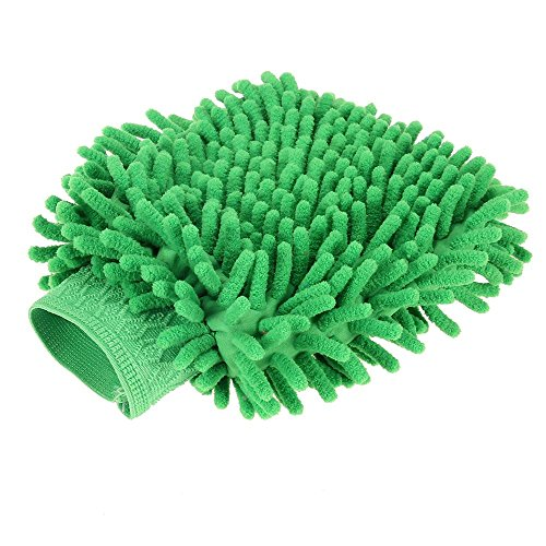 Foxpic Premium Microfibre Car Van Wash Shampoo Cleaning Mitt Glove Polishing Cloth Duster - Green