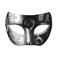 Coofit® Retro Roman Gladiator Halloween Party Masks Man Woman Children Masquerade Mask (Silver & Black) from Coofit