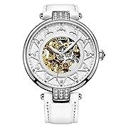 BUREI Automatische Selbst Gewundenen Mechanische Armbanduhr Für Damen mit Gold-kristallfarbenen Ziffernblatt und Weißem Kalbslederarmband