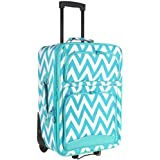 Ever Moda Teal Chevron 20-inch Expandable Carry On Rolling Luggage