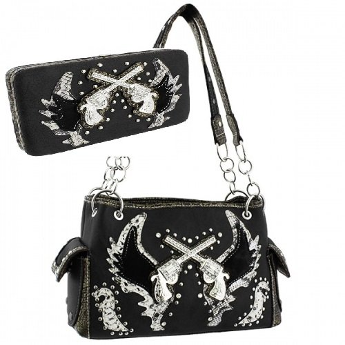 Western Cross Guns and Angel Wings Handbag PURSE with matching wallet - BLACK