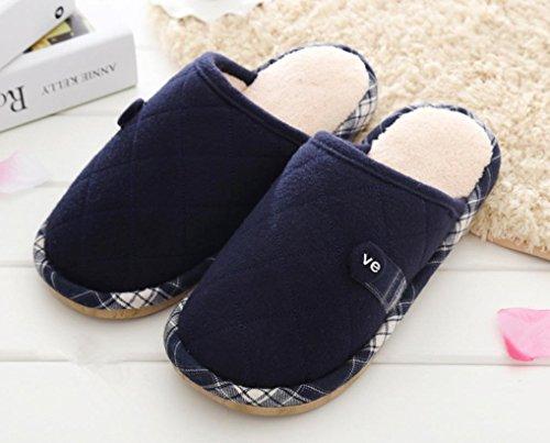 ZHLONG Uomo autunno e l'inverno casa pantofole pantofole calde per il tempo libero al coperto , Dark blue , small