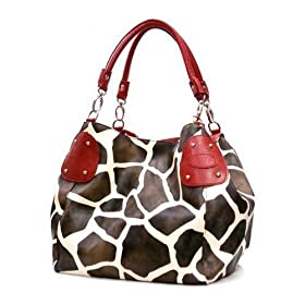 New Mini-Size Small Giraffe Print Faux Leather Satchel Bag Handbag Purse W/Bonus Cell Phone Pouch - (4 Different Colors)