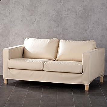 Dekoria Karlstad rivestimento per divano a 2 posti in eco pelle Rivestimento, adatto al modello Ikea Karlstad, Beige chiaro
