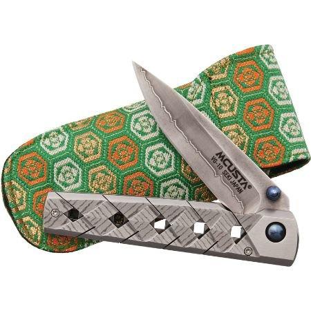 Mcusta Yoroi Knife with San Mai Blade, Damascus Handle, and Woven Nishijin Pouch