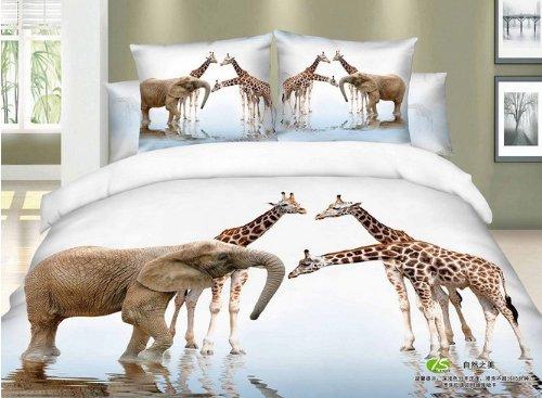Queen Size 100% Cotton 4-Pieces 3D Giraffes Elephant White River Animal Prints Duvet Cover Set/Bed Linens/Bed Sheet Sets/Bedclothes/Bedding Sets/Bed Sets/Bed Covers/5-Pieces Comforter Sets (5) front-1054940