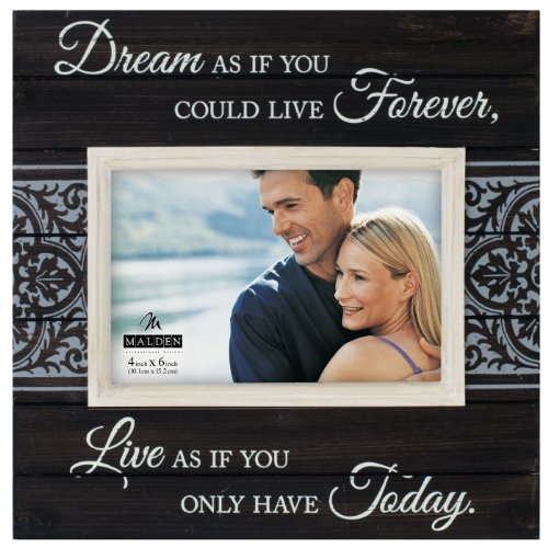Malden Sun Washed Words Dream Distressed Black Picture Frame, 4 by 6-Inch