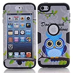 iPod Touch 6 Cover Case, SAVYOU iPod 6 Gray Owl Pattern 3 in 1 Shield Hybrid Series Hard Case Cover with Soft Silicone Inner Case for Apple iPod Touch 6th Generation (Black)