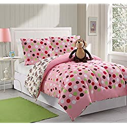 3 Piece Kids/teens Twin Reveresable Comforter Set Pink Polka Dots Design Luxury Bed-in-a-bag- Monkey Furry Friend Included