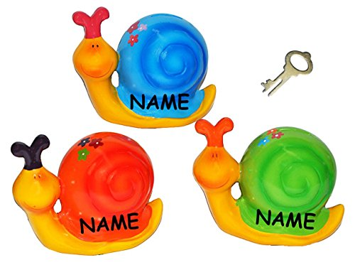 """Spardose - """" lustige Schnecke """" incl. Namen - stabile Sparbüchse mit Schlüssel - aus Porzellan / Keramik - Sparschwein lustig witzig - Schnecken - für Erwachsene / Kinder Mädchen Jungen - Schwein / bunte Farben"""