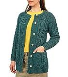 Wool Overs Gilet irlandais en laine femme Bleu paon M...
